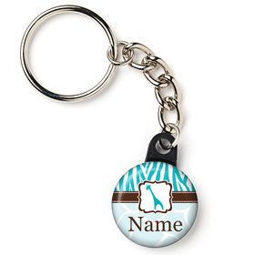 "Wild Safari Blue Personalized 1"" Mini Key Chain (Each)"