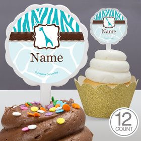 Wild Safari Blue Personalized Cupcake Picks (12 Count)