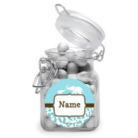 Wild Safari Blue Personalized Glass Apothecary Jars (12 Count)