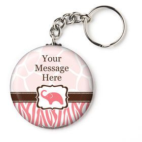 "Wild Safari Pink Personalized 2.25"" Key Chain (Each)"