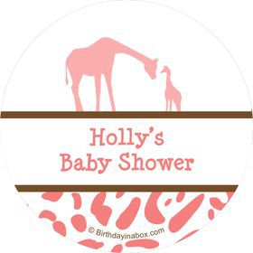Wild Safari Pink Personalized Stickers (Sheet of 12)