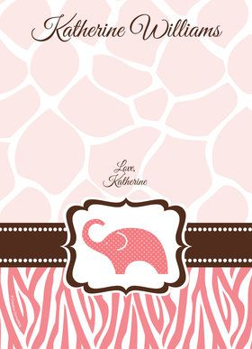 Wild Safari Pink Personalized Thank You (Each)