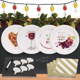 Wine Party 32 pc Appetizer Pack w/ Chalkboard Runner, Cheese Board Decor
