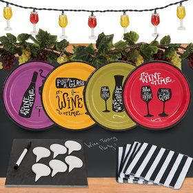 Wine Time 32 pc Appetizer Pack w/ Chalkboard Runner and Cheese Board - Decoration Kit