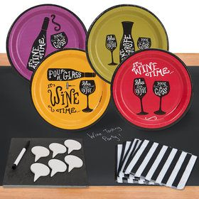 Wine Time 32 pc Appetizer Pack w/ Chalkboard Runner Cheese Board