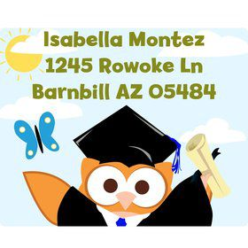 Wise Owl Grad Personalized Address Labels (Sheet of 15)