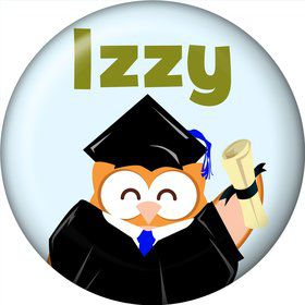 Wise Owl Grad Personalized Mini Button (Each)
