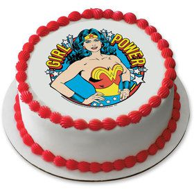 "Wonder Woman Girl Power 7.5"" Round Edible Cake Topper (Each)"