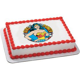 Wonder Woman Girl Power Quarter Sheet Edible Cake Topper (Each)