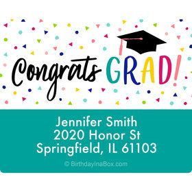 Yay Grad Personalized Rectangular Stickers (Sheet of 15)