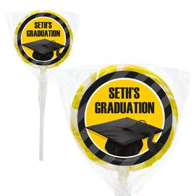 "Yellow Caps Off Graduation Personalized 2"" Lollipops (20 Pack)"