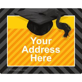 Yellow Caps Off Graduation Personalized Address Labels (Sheet of 15)