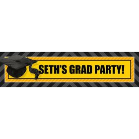 Yellow Caps Off Graduation Personalized Banner (Each)