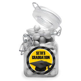 Yellow Caps Off Graduation Personalized Glass Apothecary Jars (12 Count)