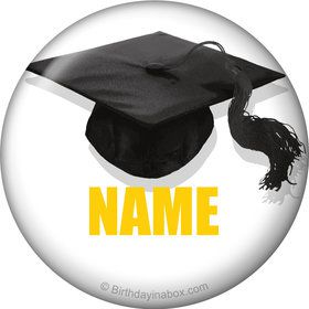 Yellow Caps Off Graduation Personalized Mini Button (Each)