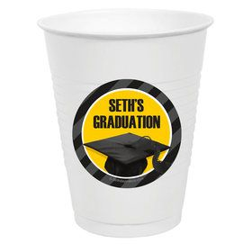 Yellow Caps Off Graduation Personalized Party Cups (50)