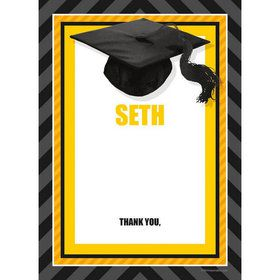 Yellow Caps Off Graduation Personalized Thank You (Each)