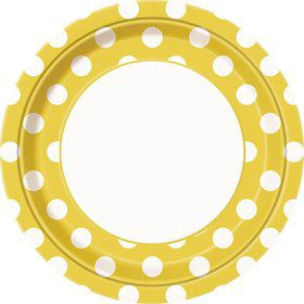 """Yellow Dots 9"""" Luncheon Plates (8 Pack)"""