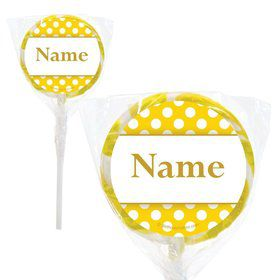 "Yellow Dots Personalized 2"" Lollipops (20 Pack)"