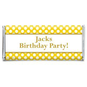 Yellow Dots Personalized Candy Bar Wrapper (Each)
