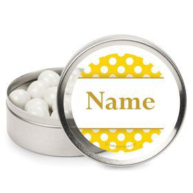 Yellow Dots Personalized Candy Tins (12 Pack)