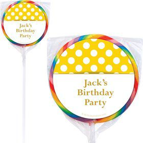 Yellow Dots Personalized Lollipops (12 Pack)