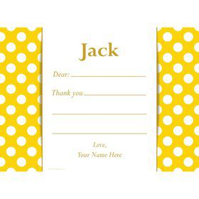 Yellow Dots Personalized Thank You Note (Each)