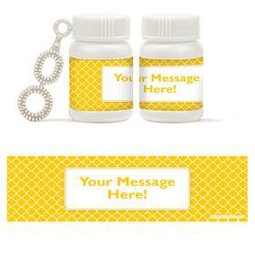 Yellow Quatrefoil Personalized Bubbles (18 Pack)