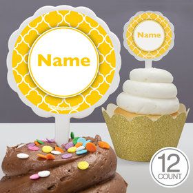Yellow Quatrefoil Personalized Cupcake Picks (12 Count)