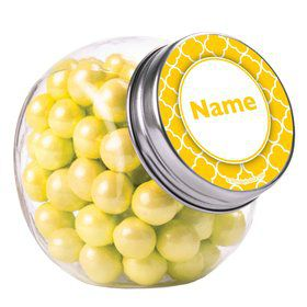 Yellow Quatrefoil Personalized Plain Glass Jars (12 Count)