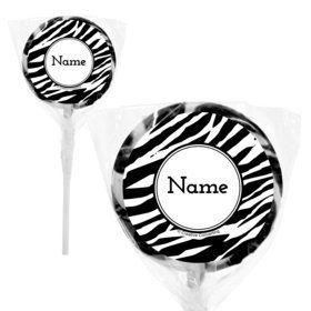 "Zebra Animal Print Personalized 2"" Lollipops (20 Pack)"