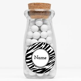 "Zebra Animal Print Personalized 4"" Glass Milk Jars (Set of 12)"