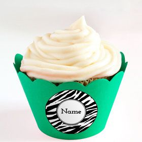 Zebra Animal Print Personalized Cupcake Wrappers (Set of 24)