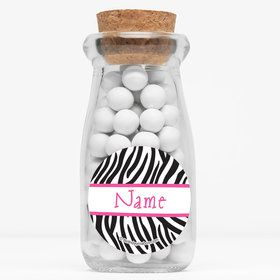 "Zebra Party Personalized 4"" Glass Milk Jars (Set of 12)"