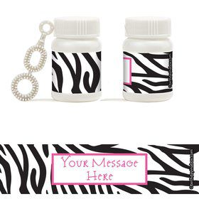 Zebra Party Personalized Bubbles (18 Pack)